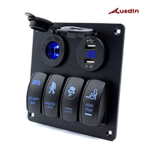 Switch Panel,Ausdin 4 Gang Laser Rocker Switch Panel Led Light Bar Control Box Marine Rocker Switch Dual USB 4.2A Outlet 12-24v Voltmeter Aluminum Heavy-Duty Waterproof Panel 16 Gauge Wiring Harness The Rocker Box