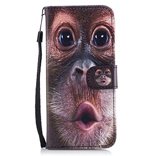 Galaxy S8 - Case, For [S8], MerKuyom [Wrist Strap] [Kickstand] Premium PU Leather Wallet Pouch [Card Holder] Protective Flip Cover Case For Samsung Galaxy S8, W/Stylus (Funny Monkey Pattern)