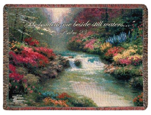 Manual Weavers Thomas Kinkade Still Waters Biblical Psalm 23 Tapestry Throw Blanket 50