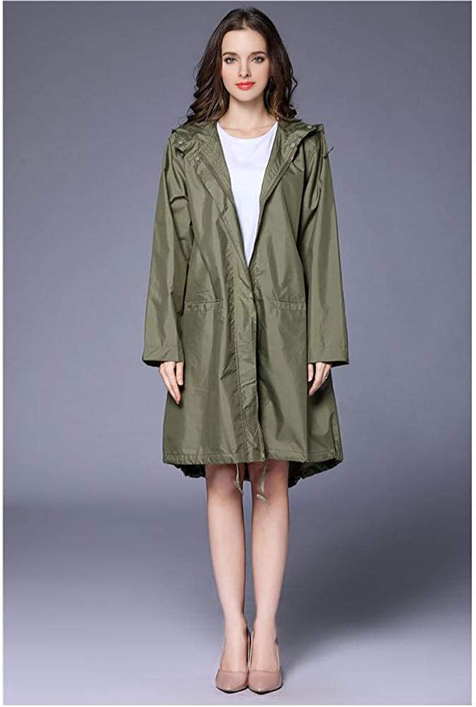 Aigrun Raincoat Women Fashion Ladies Rain Coat Breathable Ladies Long Raincoats Portable Water-Repellent Raincoat Women Khaki