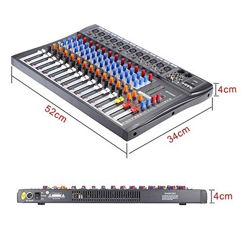 ammoon 120S-USB 12 Channels Mic Line Audio Mixer Mixing Console USB XLR Input 3-band EQ 48V Phantom Power with Power Adapter by ammoon (Image #2)