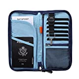 Zoppen RFID Travel Wallet & Documents Organizer Zipper Case, Family Passports Holder with Removable Wristlet Strap, Royal Blue