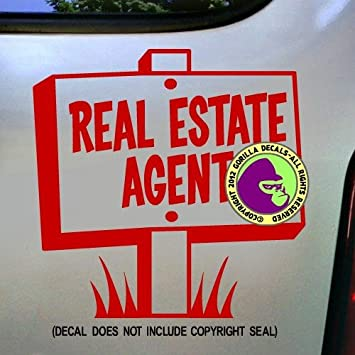 Real estate agent realtor vinyl decal bumper sticker car window laptop wall sign red