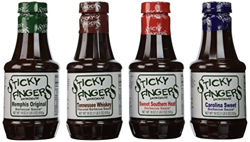 Bundle - 4 Items: Sticky Fingers BBQ Regional Flavors - Memphis Original, Tennessee Whiskey, Sweet Southern Heat, Carolina Sweet (Steak Sauce Gift Set)