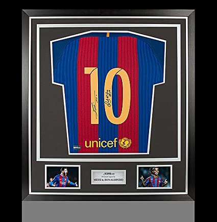 d1f1b899a Image Unavailable. Image not available for. Color  Lionel Messi   Ronaldinho  Back Autographed Signed Barcelona Home ...