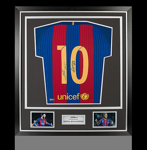 detailed look a672e d36b9 Lionel Messi & Ronaldinho Back Autographed Signed Barcelona ...