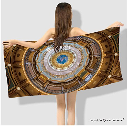 VROSELV Cotton Microfiber Bathroom  Bath Towel-des moines iowa july inner dome of the iowa state capitol on july in des moines Custom pattern of hou Custom pattern of household products(35.4