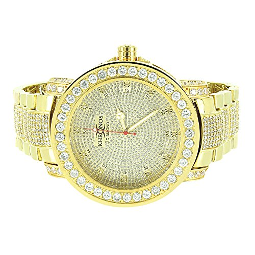 Genuine Diamond Khronos Watch Yellow Gold Finish Iced Out Analog Iced Out Hip Hop Rapper by Master Of Bling