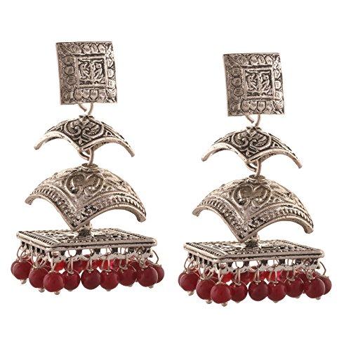 Zephyrr Fashion German Silver Pierced Triple Jhumki Earrings for Girls