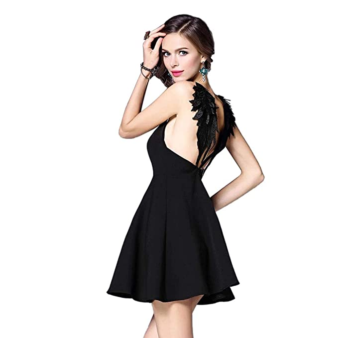 4d6a9c22d36 Women Sexy Deep V Backless Angel Wing Open Back Slip Dress Skater Mini Dress  (S