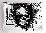 Lunarable Tattoo Pillow Sham, Grunge Style Furious Looking Skull on a Brick Wall Illustration Artwork Print, Decorative Standard Size Printed Pillowcase, 26 X 20 inches, Black and White