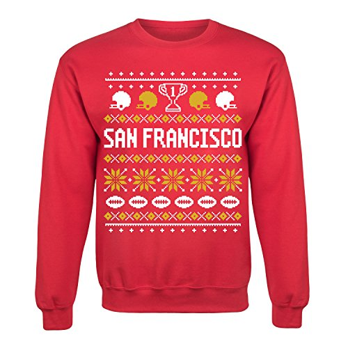 San Francisco Ugly Adult Crew Fleece Red