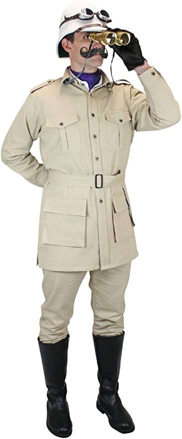 Victorian Men's Costumes: Mad Hatter, Rhet Butler, Willy Wonka Cotton Canvas Safari Bush Jacket $74.95 AT vintagedancer.com