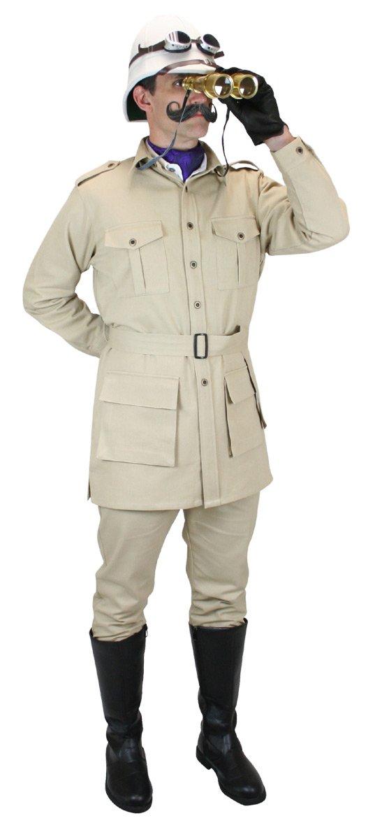 Historical Emporium Men's 100% Cotton Canvas Safari Bush Jacket M Khaki