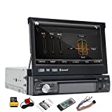 8GB Card GPS Navigation Single Din 7inch HD Touch Screen Car Radio Stereo Detachable Panel GPS Navi Auto DVD Player 1 Din Bluetooth Radio Receiver Ipod CD USB SD Aux Subwoofer entertainment system