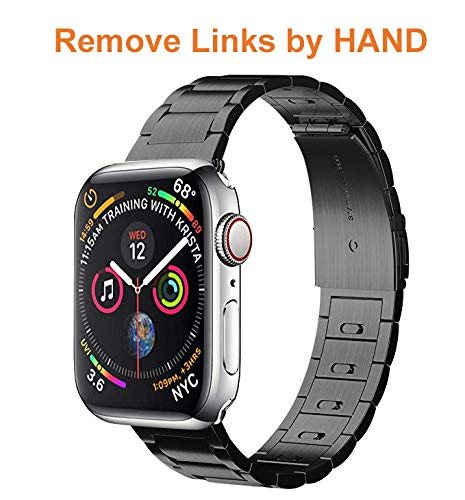 (EloBeth iWatch Band 40mm 38mm Men, Stainless Steel Band Metal Clasp(Move Links by Hand) + Adapter Compatible with Apple Watch Series 4/3/2/1 (Black 40/38mm))