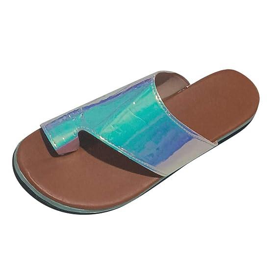 Sandalias Plataformas Mujer Verano 2019 EUZeo 3D Sandalias Tacon Planas Cuña 5CM Zapatillas Correctoras Juanetes de Piel Moda Regalo Zapato de Viaje Playa ...