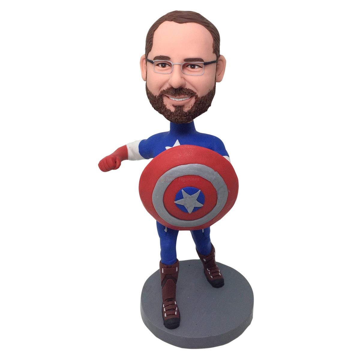 Captain America Personalized Gift Clay Figurines Based on Customers Photos Birthday Cake Topper Husband Boyfriend Son Boss Birthday Gift