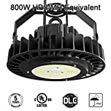UFO LED High Bay Light, 200W Hi-Bay Lighting for Garage Warehouse Workshop Lumileds SMD 3030 LED MeanWell Driver 130Lm/W, 26000Lm (800W HID/HPS equivalent)White Light 5000K IP65 DLC UL Listed,Black