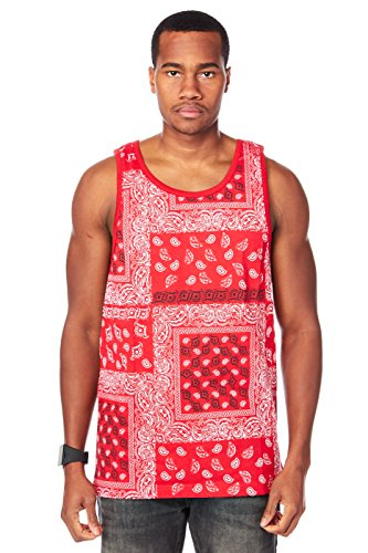 Mens Muscle Paisley Bandana Print Fashion Dope Tank Top 389T (S, Red) (Bandana Tank Top compare prices)