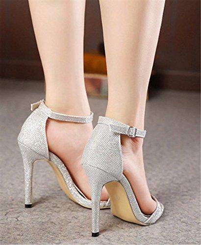Club Boucle Talon Hauts Talons Été Escarpins YOGLY Bout Argent Sexy Sandales Ouvert Femme Aiguille à Chaussures Soiree 8wqEFx6R