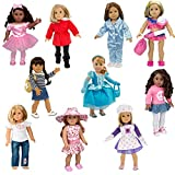 #8: Dress Along Dolly 10 Unique Outfits Variety Pack for American Girl and Other 18 Inch Dolls - Total 40 Pcs - Shoes and Accessories Included