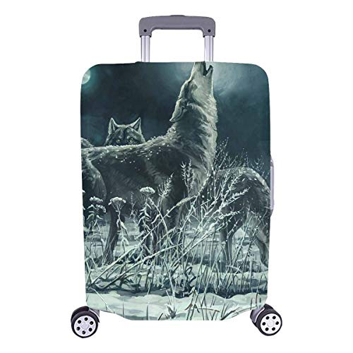 InterestPrint Cool Wolves Howling at Moon Travel Luggage Protector Baggage Suitcase Cover Fits 26
