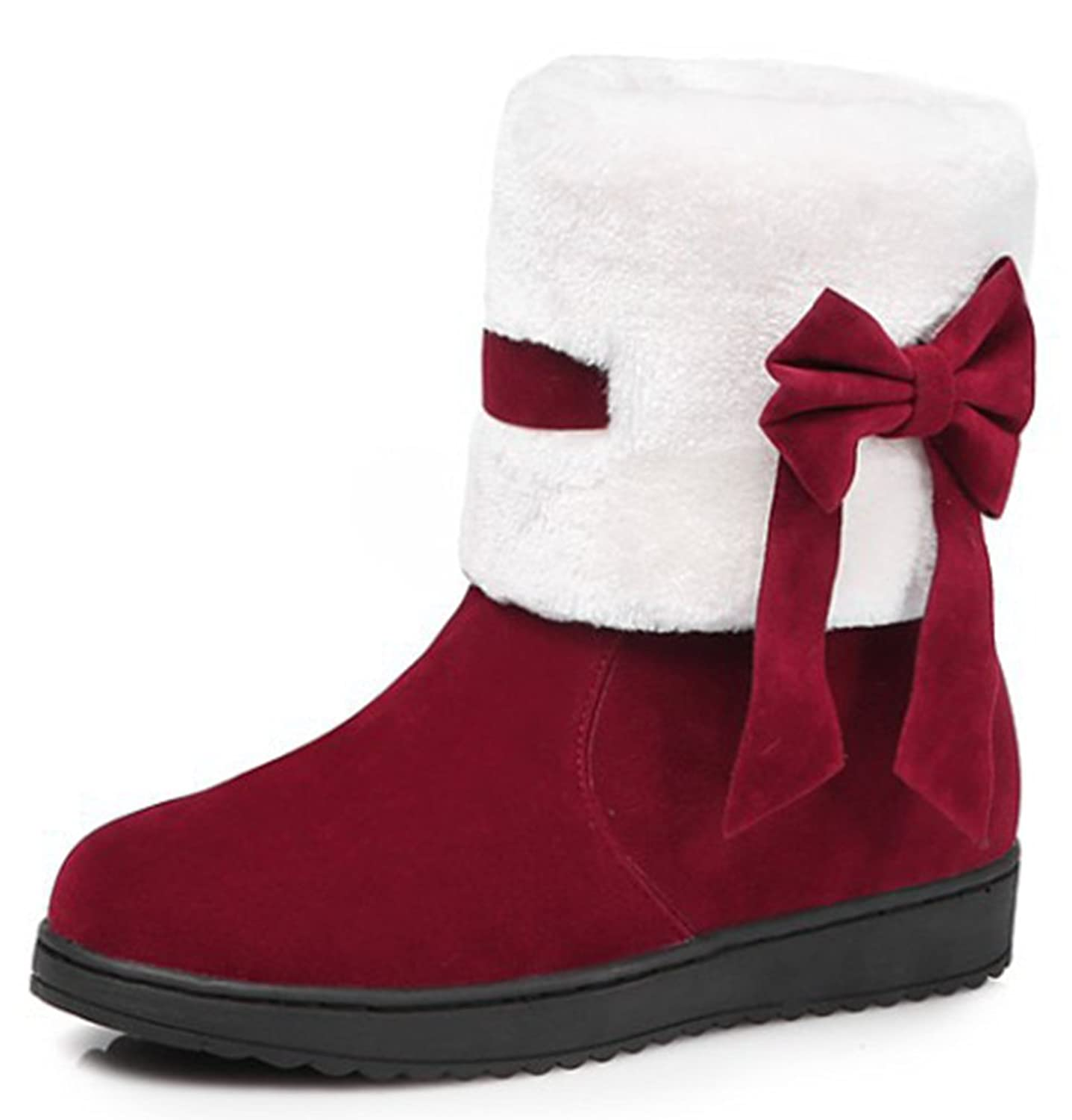 IDIFU Women's Sweet Bow Faux Fur Lined Flat Snow Boots Ankle High Thick Winter Booties