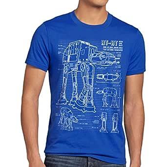 style3 AT-AT Cianotipo Camiseta para Hombre T-Shirt Fotocalco Azul ...
