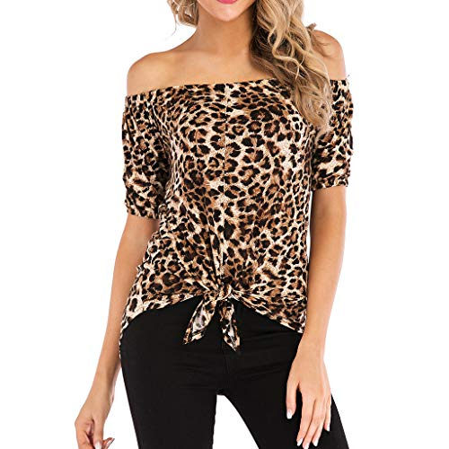 Twinsmall Summer Off Shoulder Tops, Women's Leopard Print Blouses Short Sleeve Loose Tees Front Tie Knot T Shirt (L2, Brown)