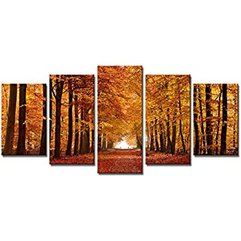 paintings for living room wallAmazoncom Canvas Wall Art Red Tree Branches Sunset Forest Nature