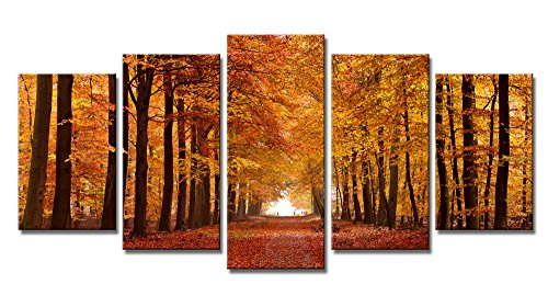 Brown Art Decor (Wieco Art - Autumn Forest Giclee Canvas Prints Canvas Wall Art Paintings for Living Room Bedroom Home Office Wall Decorations Modern 5 Piece Stretched and Framed Landscape Trees Pictures Artwork Decor)