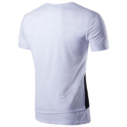 af4af91777 CHENGYANG Uomo Moda Irregolare Cucitura Lungo T-Shirt Manica Corta Tops  Maglietta