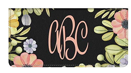 - Boho Floral Genuine Leather Checkbook Cover (Personalized)