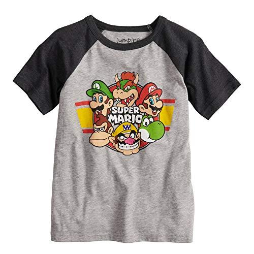 Jumping Beans Boys 4-10 Nintendo Super Mario Bros. Raglan Graphic Tee 6 Heather Gray