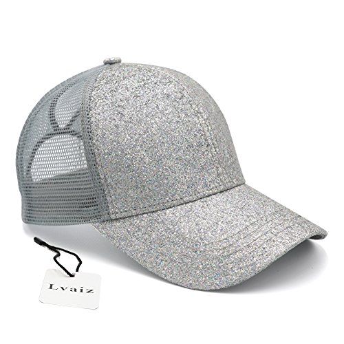Silver Pony Shirt - Lvaiz Womens Glitter Ponytail Plain Baseball Cap Messy High Buns Mesh Trucker Sparkly Ponycaps for Girls, Variy Styles and Colors