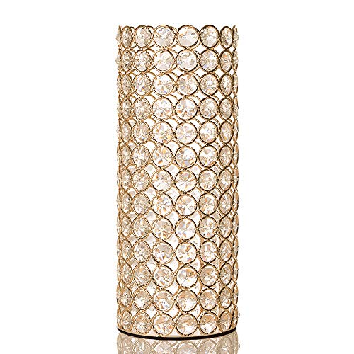 VINCIGANT Gold Crystal Cylinder Vase for Mothers Day Holiday House Decor Table Centerpieces with Led Copper Wire String Light -