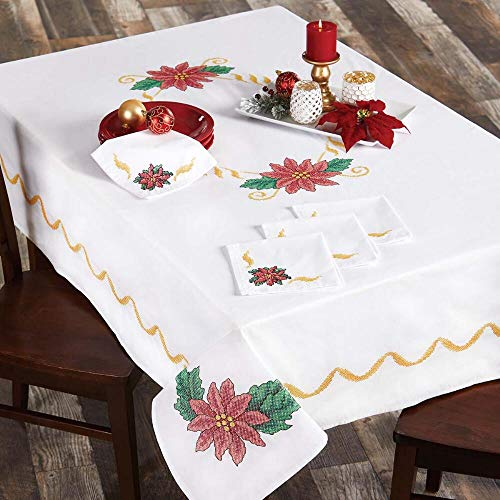 - Herrschners® Christmas Poinsettia Napkins Stamped Cross-Stitch