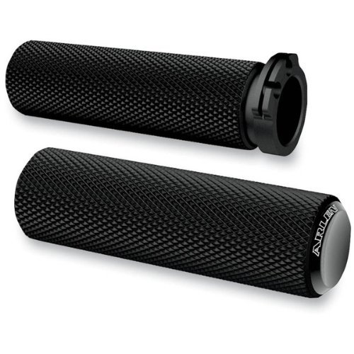 Arlen Ness Black Knurled Fusion Grips For Harley Davidson Cable Style Throttle Models - 07-325 - Arlen Ness Motorcycles