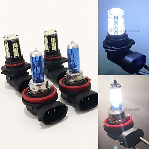 Crystal Hyper White Bulbs - Mega Racer Combo H11 White 55 Watt Halogen 5000K 9005-HB3 Crystal Clear 42 LED 8000K Xenon Light Lamp Headlight Bulb High/Low Beam