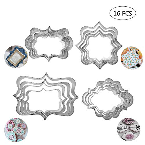 - 16Pcs Plaque Frame Cookie Cutter Set Square Frame Plaque Fancy Oval Rectangle and Photo Plaques Frame Fondant Cutters Stainless Steel Assorted Sizes