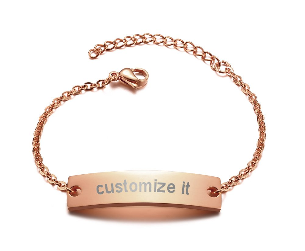 PJ Personalized Jewelry Monogram Engraved Plain Chain & Link ID Bracelets for women,Her Gift,Rose Gold