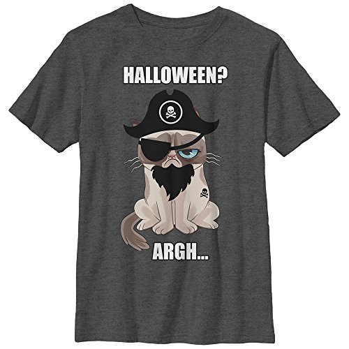 Grumpy Cat Boys' Halloween Pirate - Charcoal Heather T-Shirt ()