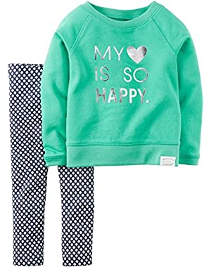 Toddler Girls' 2-Piece Little Heart Is So Happy Top & Leggings Set