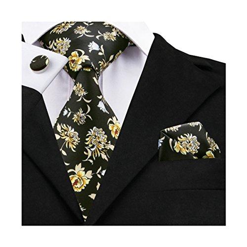 DiBanGu Men's Floral Tie Black Silk Necktie and Pocket Square Set Print Tie and Tie Pin