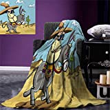 Cartoon Digital Printing Blanket Mexican Man Wearing Sombrero Hat Riding a Donkey in The Desert with Cactus Plants Summer Quilt Comforter 80''x60'' Multicolor