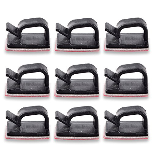 Cable Clips Organizer - Cord Management Clamps, Desktop Cord Holder Hider, Conshine Self Adhesive Charging Cable Management System for Car, Office and Home (50-Pack)