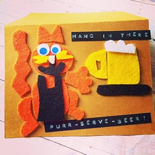 Cat Lover Card Cat Birthday Card Hang In There PURR-SERVE- BEER Beer Greeting Card Cheers Greeting Card Friendship Humor Card Cat Greeting card Drinking Card Humor Inspiration Greeting Card