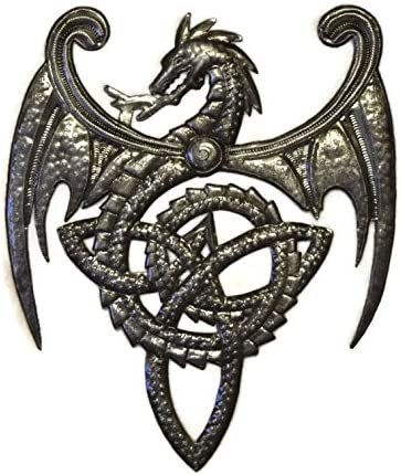 Dragon, Metal Wall Mounted Art, Mythical, Celtic, and Gothic Sculpture, 14 in. x 17 in.