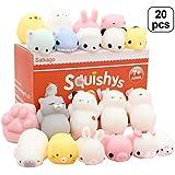 Satkago Mochi Squishys Toys, 20 Pcs Mini Squishys Mochi Animals Stress Toys Panda Squishys Kawaii Squishys Cat Stress Reliever Anxiety Toys